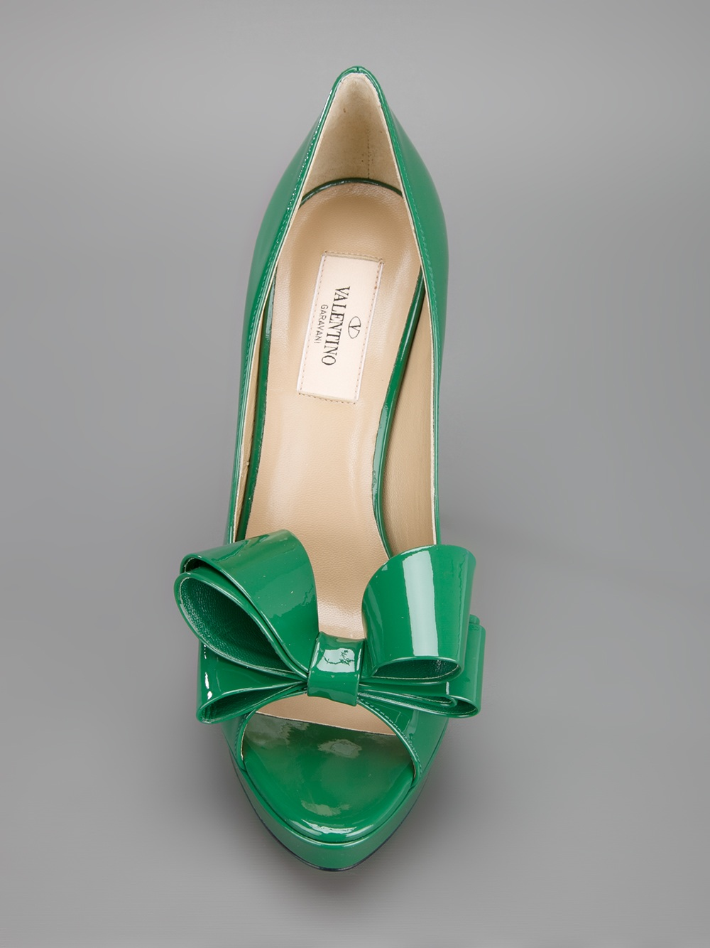 6dbe7347a5a4 Shoeniverse  VALENTINO Green Peep Toe Bow Pump