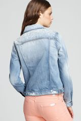 7 For All Mankind Jacket Pearl Denim in Light Destroyed - Lyst