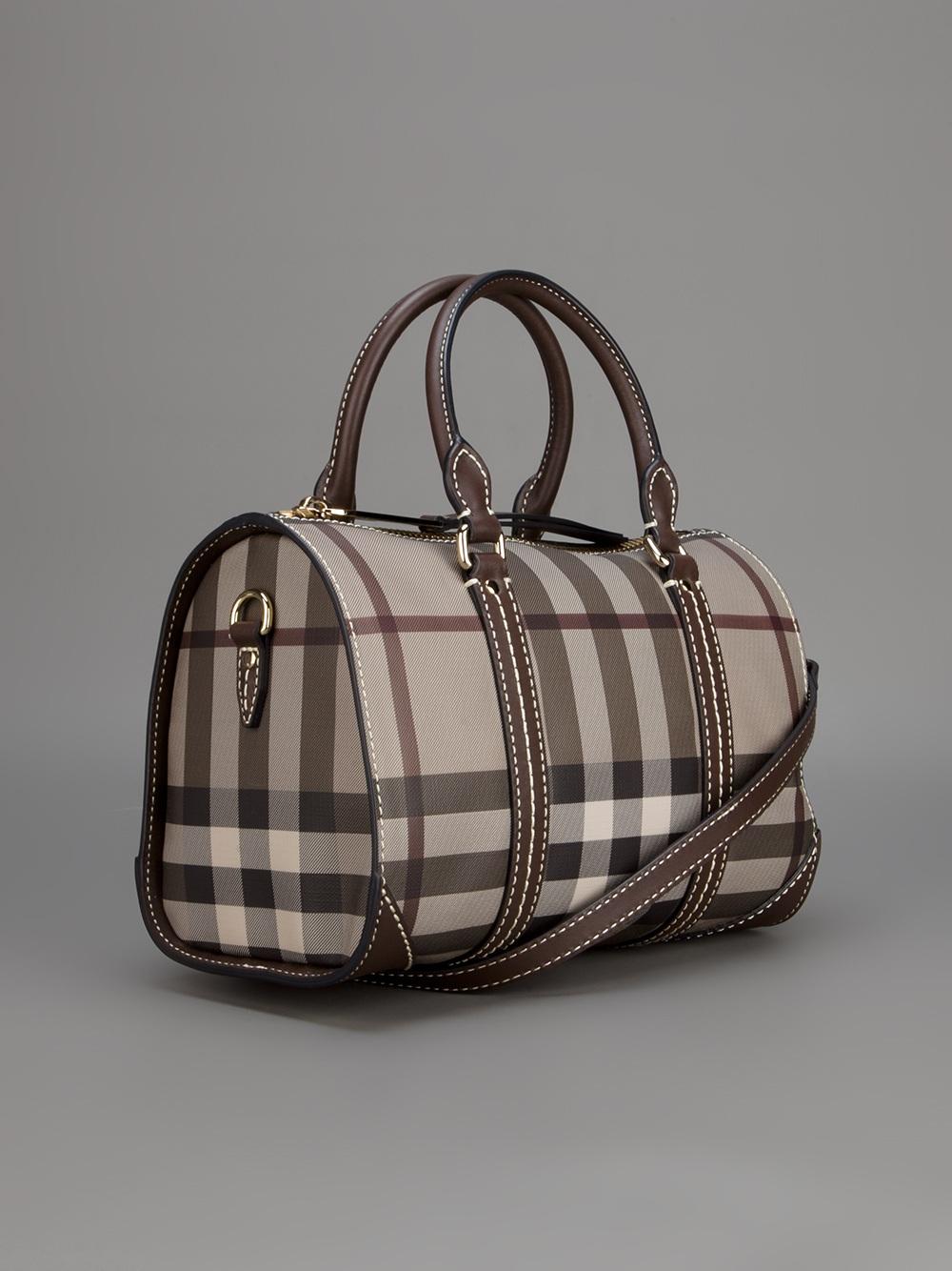24b313cabc54 Burberry Check Bowling Bag in Gray - Lyst