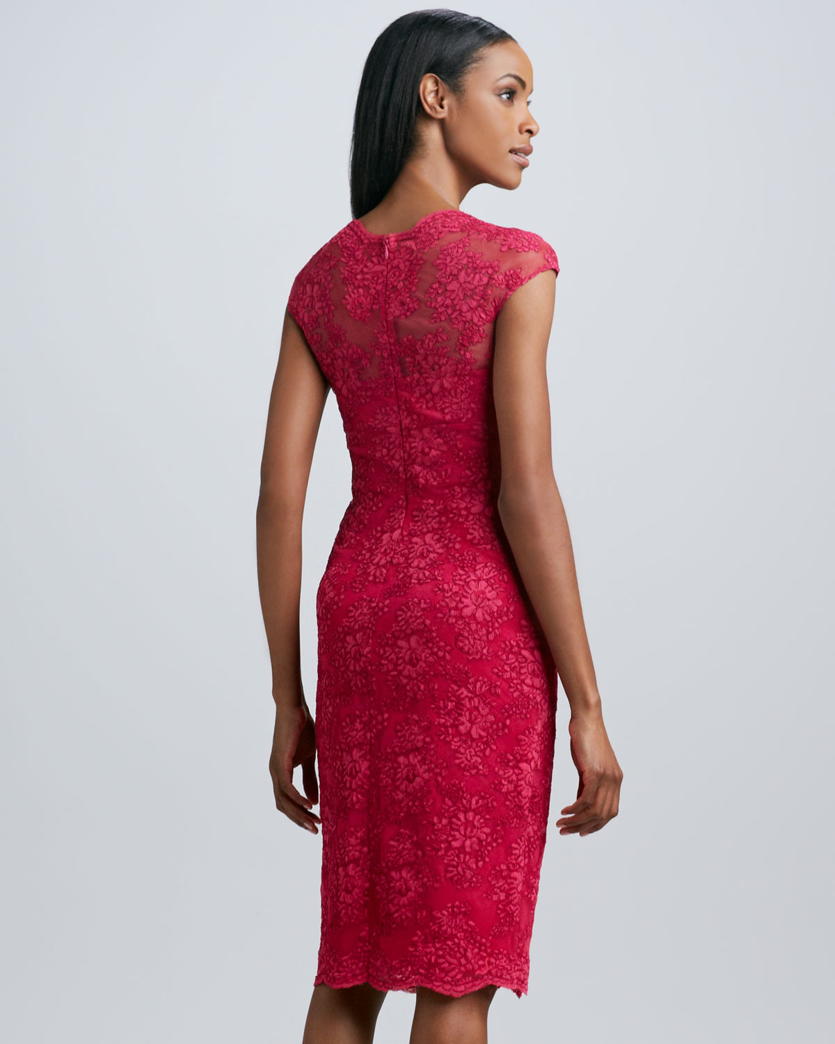 David meister Vneck Lace Cocktail Dress in Red | Lyst