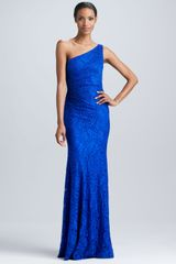 David Meister One-Shoulder Lace Gown - Lyst