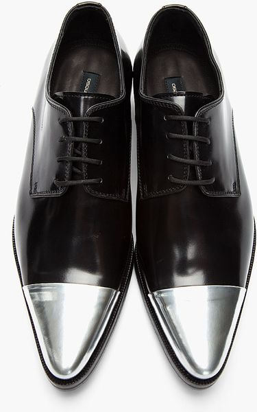 dsquared 178 black silver cap toe derby leather dress shoes