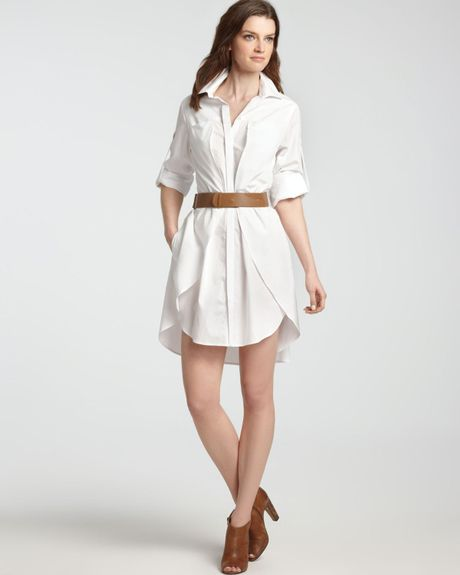 heritage shirt dress cotton with belt in white lyst