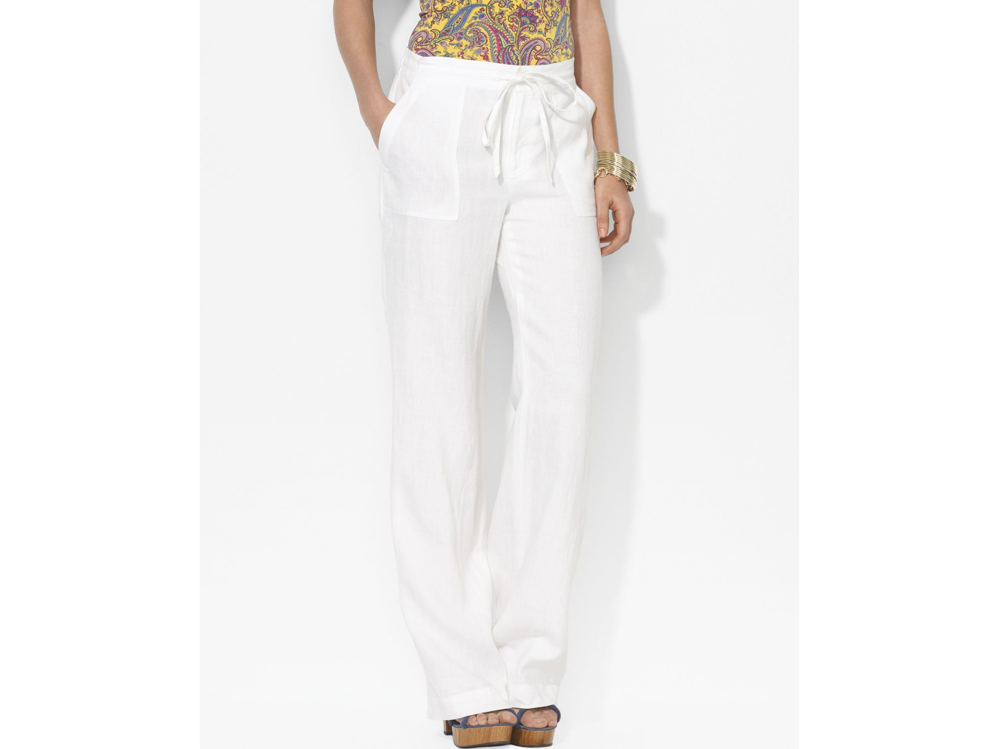 Lauren by ralph lauren Linen Drawstring Pants in White | Lyst