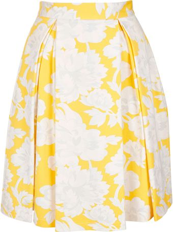 Topshop Yellow Floral Pleat Calf Skirt - Lyst