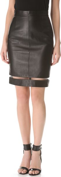 Alexander Wang Leather Fishline Pencil Skirt - Lyst
