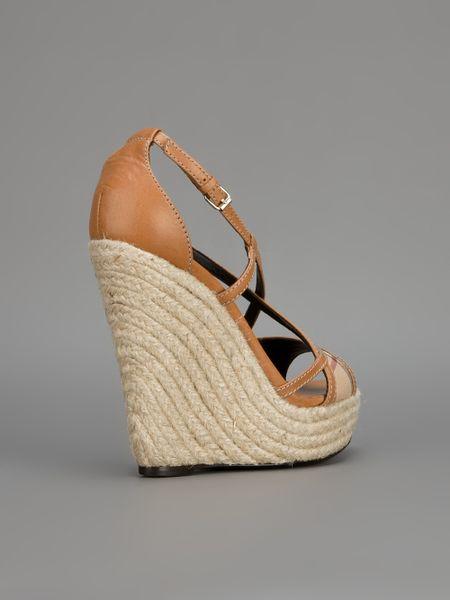 Burberry Wedge Sandal In Brown Lyst