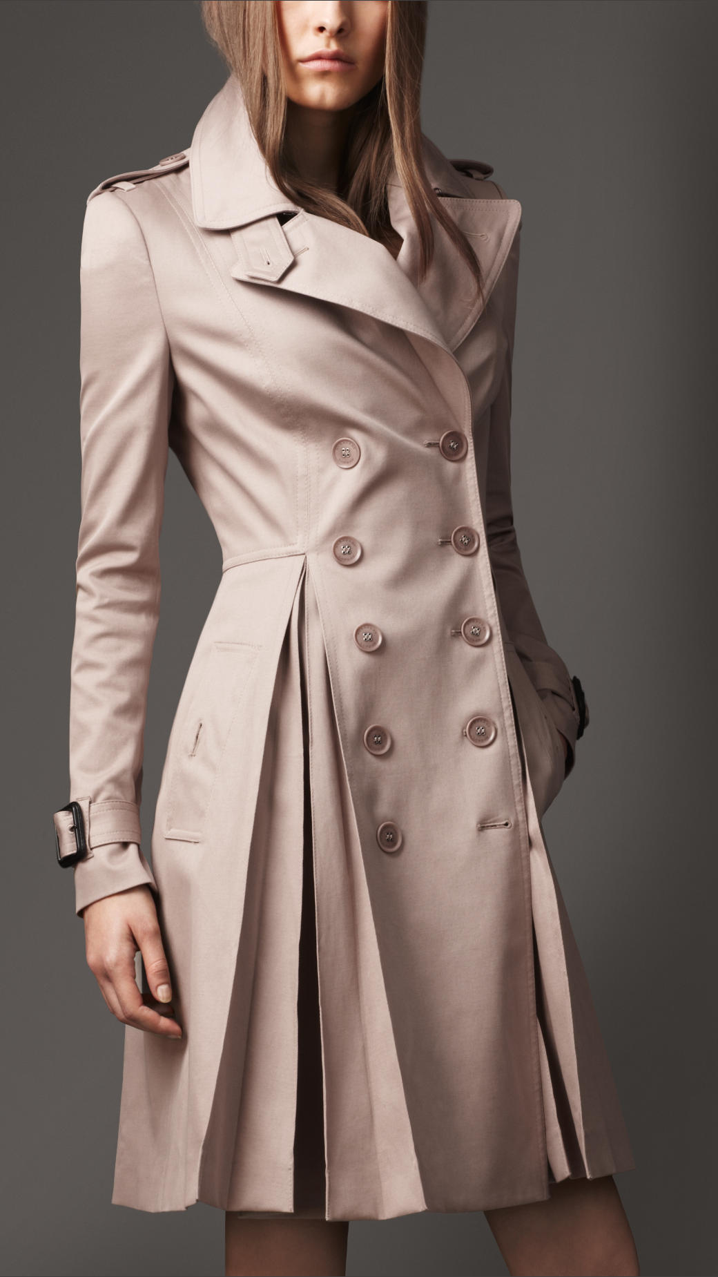 burberry long full skirt stretch cotton trench coat in. Black Bedroom Furniture Sets. Home Design Ideas