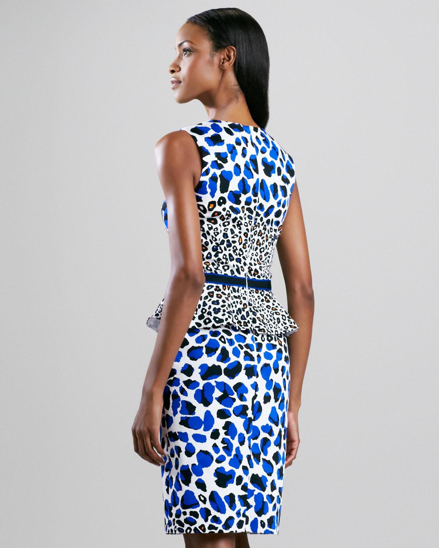 63220343d4 Lyst - David Meister Animal print Peplum Dress in Blue