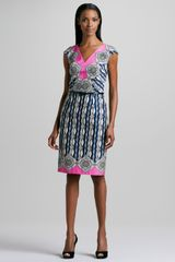David Meister Geometric print Belted Dress - Lyst