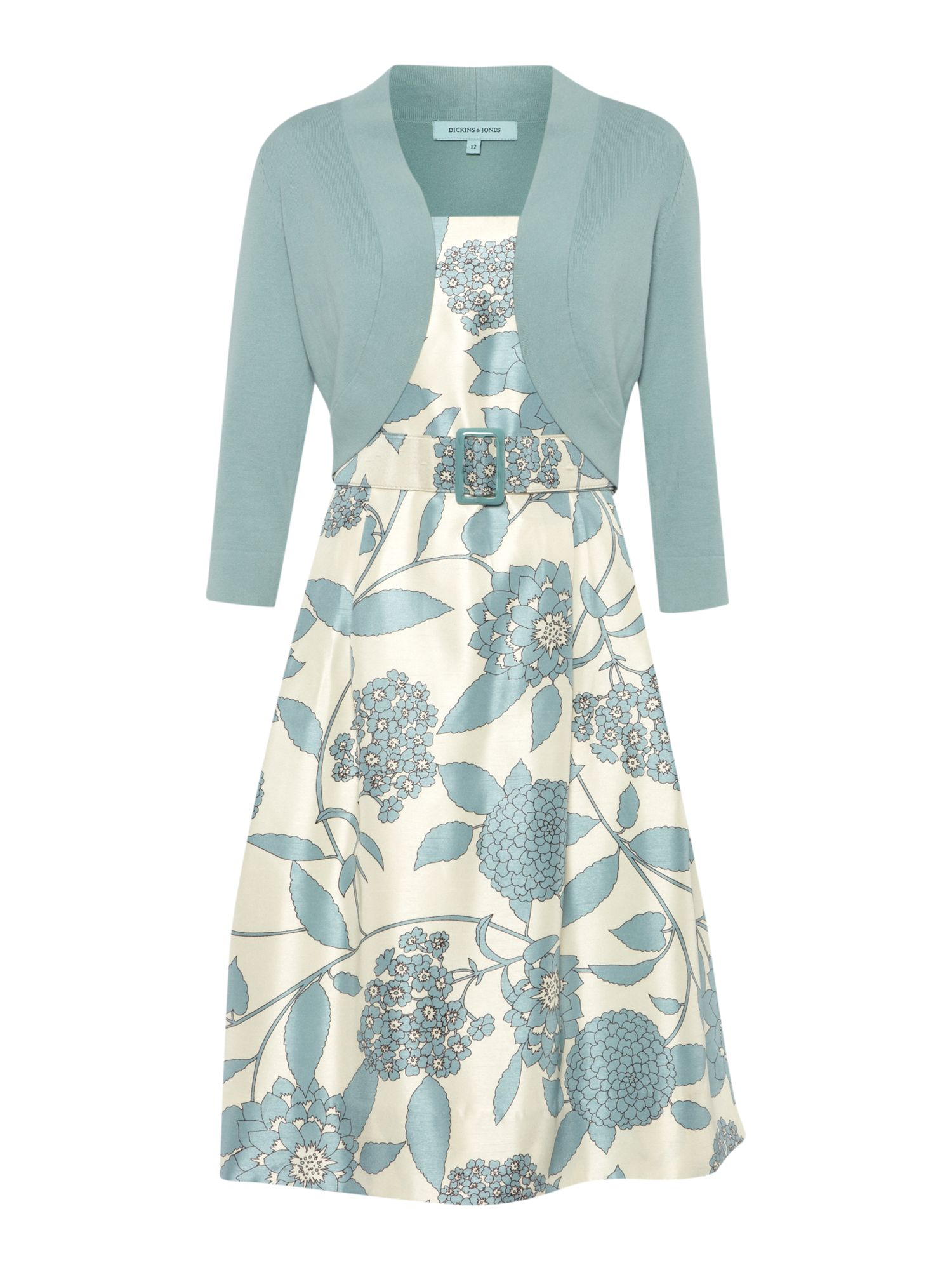 Dickins Amp Jones Floral Belted Dress With Matching Cardigan