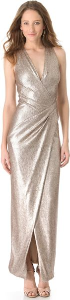 Donna Karan New York Plunge V Evening Dress with Slit - Lyst