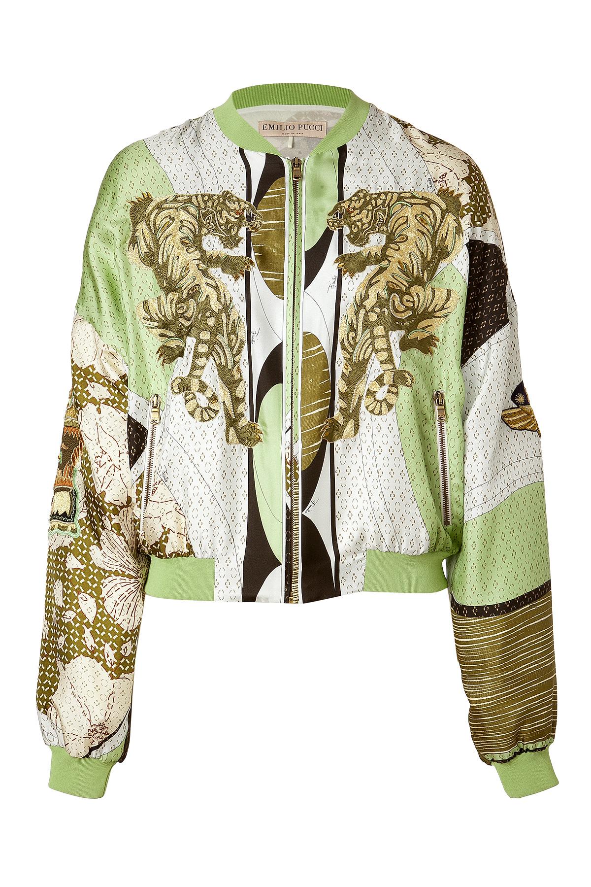 Emilio Pucci Applegoldmulti Embroidered Silk Bomber Jacket