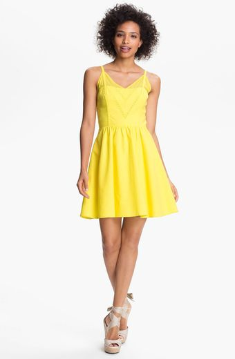 Jessica Simpson Vneck Fit Flare Dress - Lyst