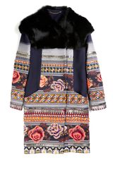 Matthew Williamson Floral Folk Weave Embroidered Cape Shoulder Coat