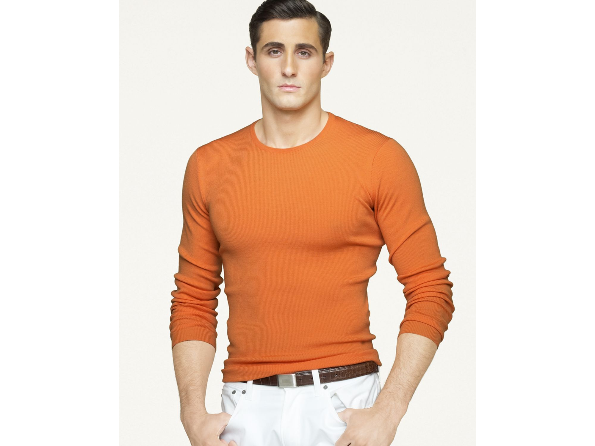 Ralph Lauren Orange Round Neck Sweaters Mesh Men .