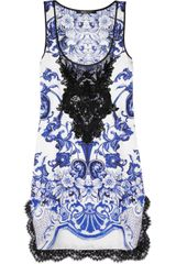 Roberto Cavalli Embellished Silktwill Mini Dress