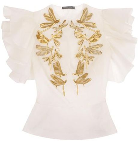 Alexander Mcqueen Embroidered Dragonfly Exploding Ruffle Sleeve Shirt in Beige