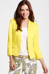 Ann Taylor Petite Cotton Sateen Three Quarter Sleeve Jacket - Lyst