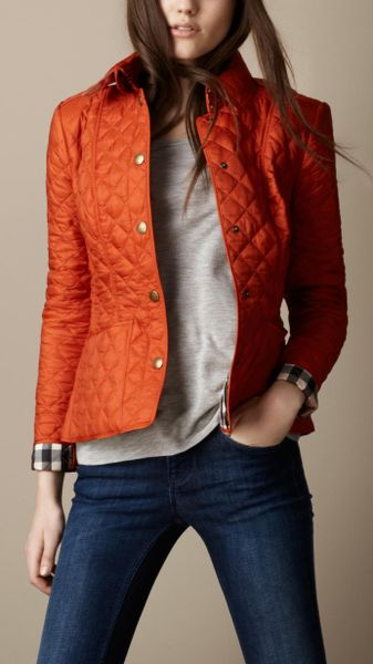 Burberry Brit Cropped Quilted Jacket In Orange Clementine
