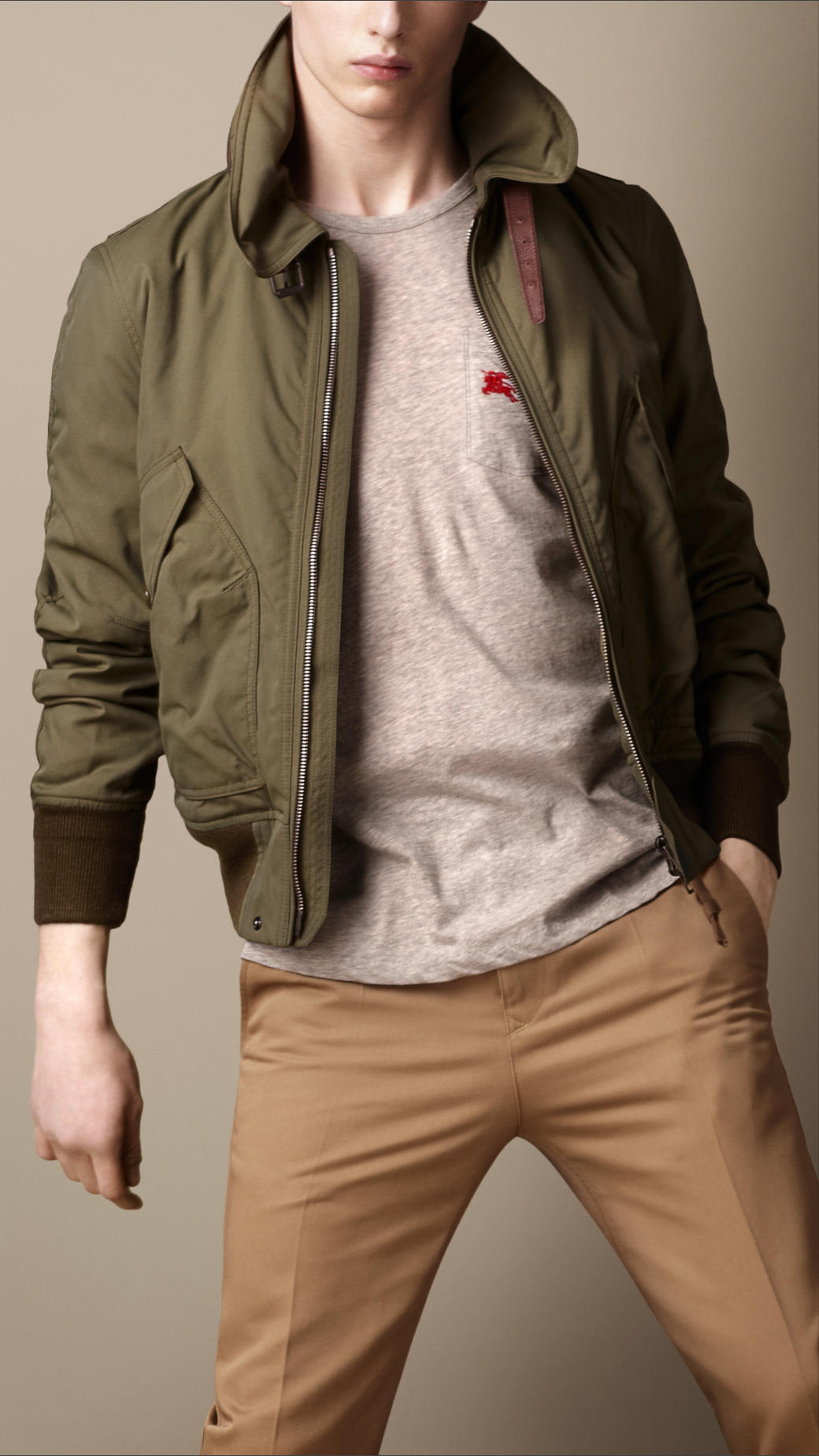 Burberry brit Waxed Cotton Bomber Jacket in Green for Men | Lyst
