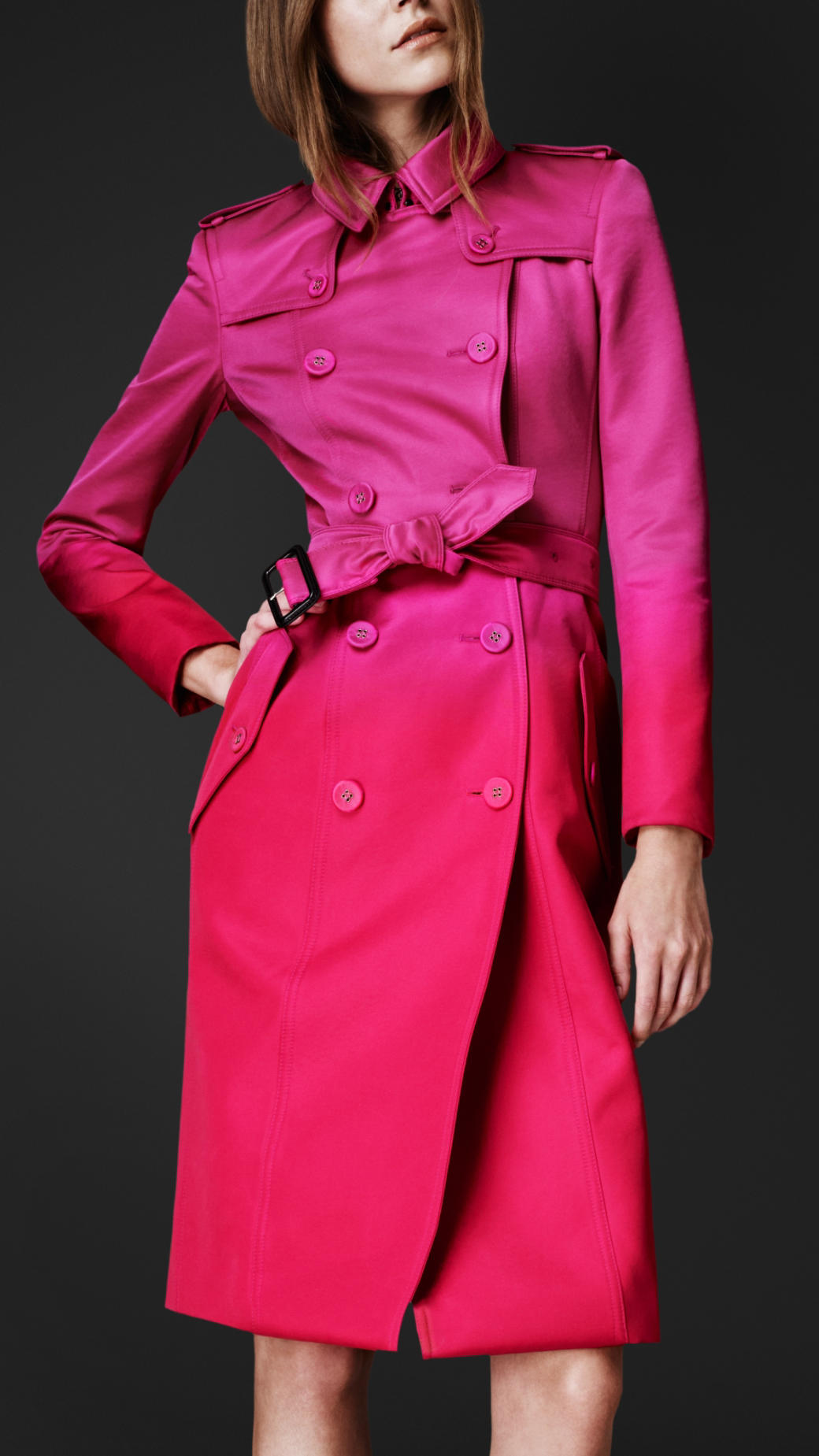 Lyst - Burberry Prorsum Satin Dégradé Trench Coat in Pink