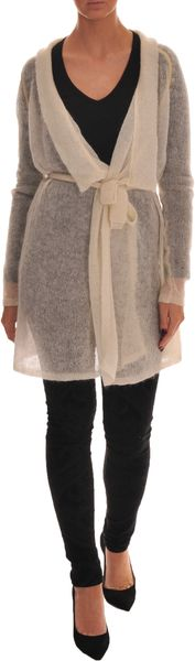 Crumpet Lurex Waterfall Cardi Dusty Gold - Lyst