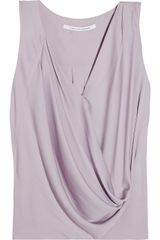 Diane Von Furstenberg Rina Draped Stretchsilk Top - Lyst