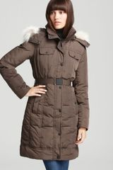 Marc New York Long Belted Coat with Fur Trim Hood - Lyst