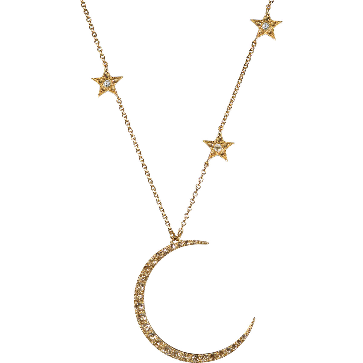 me ro crescent moon and pendant necklace in