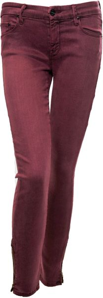 Mother Denim The Looker Crop Zip in Deep Maroon - Lyst