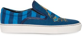 Mother Of Pearl Achilles Canvas Slip On Sneakers in Blue Guns - Lyst