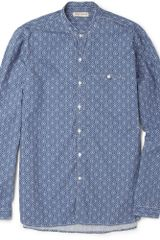 Oliver Spencer Grandad Collar Printed Cotton Shirt - Lyst