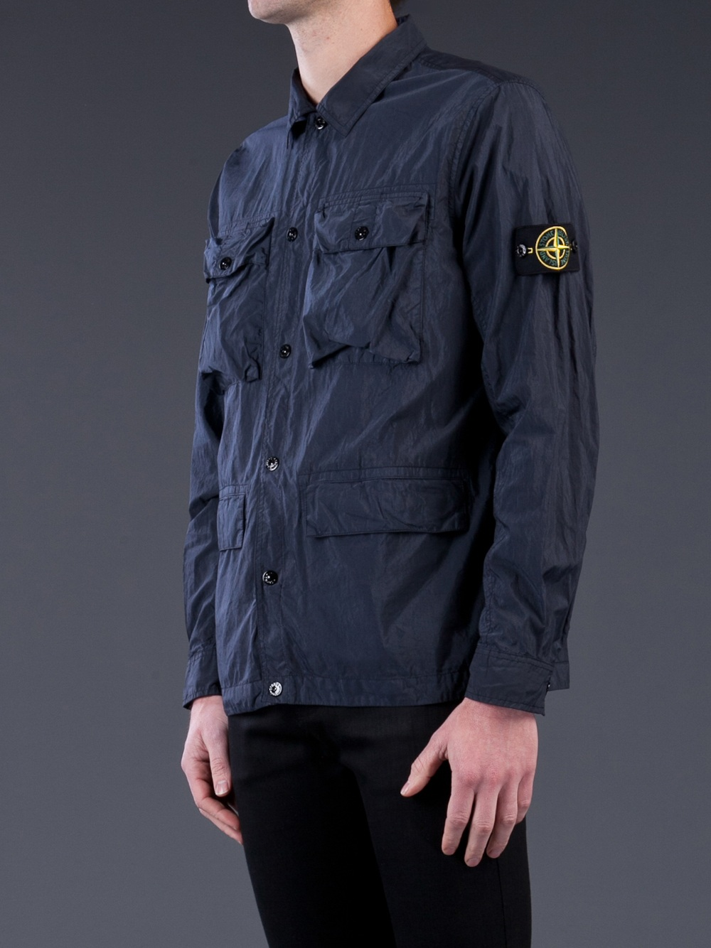 Stone Island Button Shirt In Blue For Men Lyst