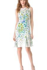 Versace Floral Sleeveless Pleated Dress - Lyst