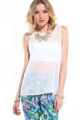 Akira V Cut Lace Back Tank in White