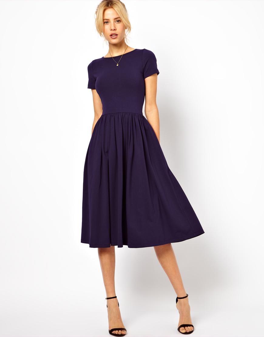 2580561e8323 Navy Blue Half Sleeve Mermaid Elegant Floral Midi Dress