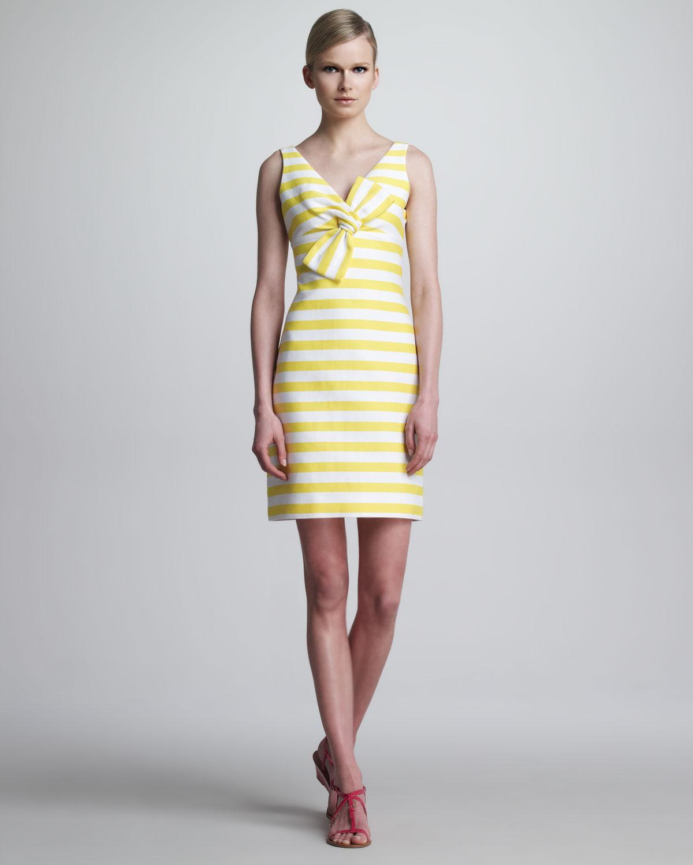 Kate spade silverscreen sleeveless striped bow dress in yellow lyst