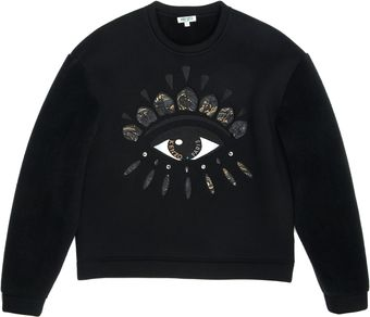 Kenzo Fleece Lined Neoprene Sweatshirt with Lotus Eye - Lyst