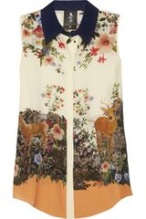 Mother Of Pearl Umiko Floralprint Silk Crepe De Chine Top - Lyst