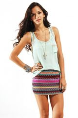 Reverse Reverse Tribal Knit Mini Skirt in Purple - Lyst