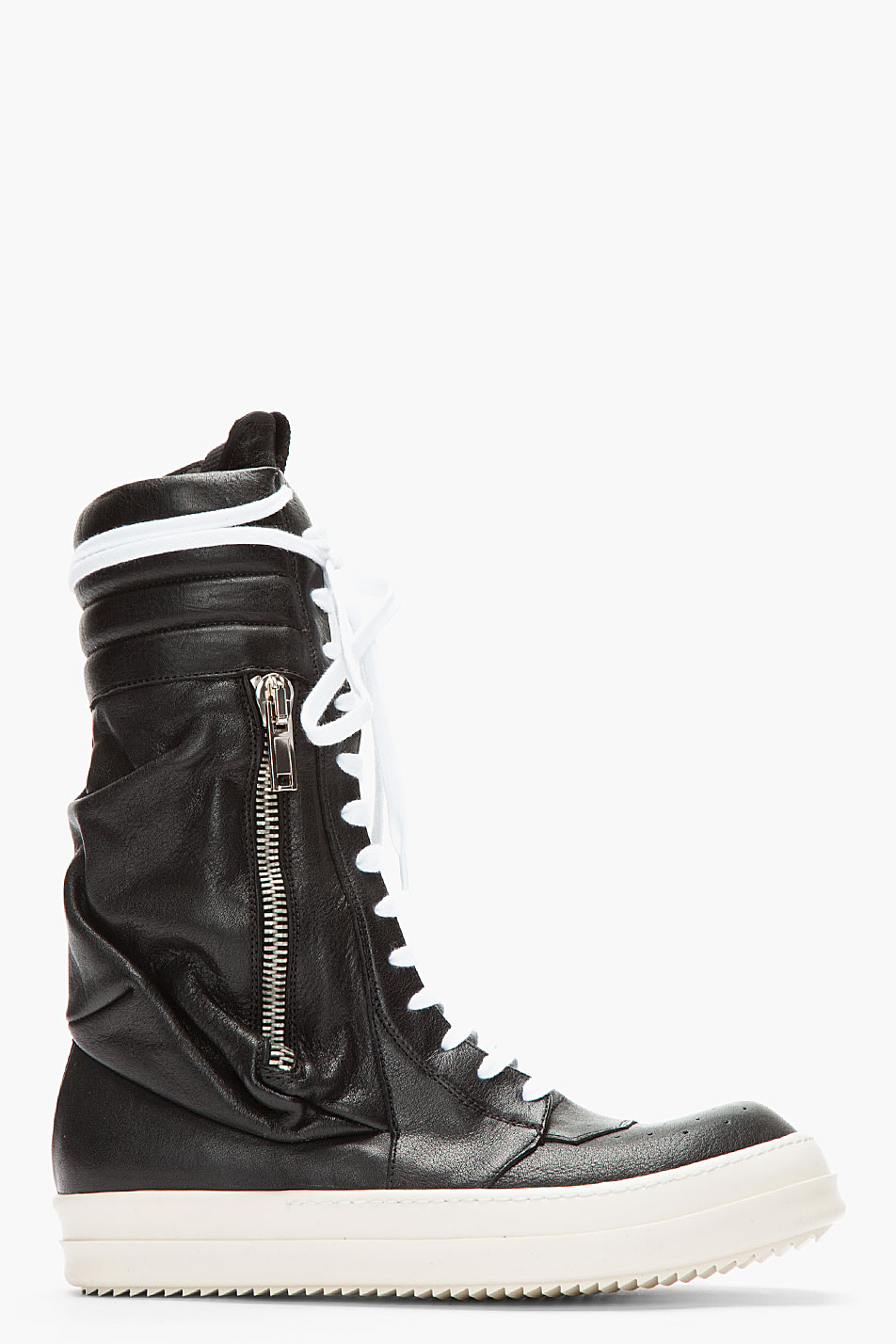 rick owens black cargobasket leather sneaker boots in