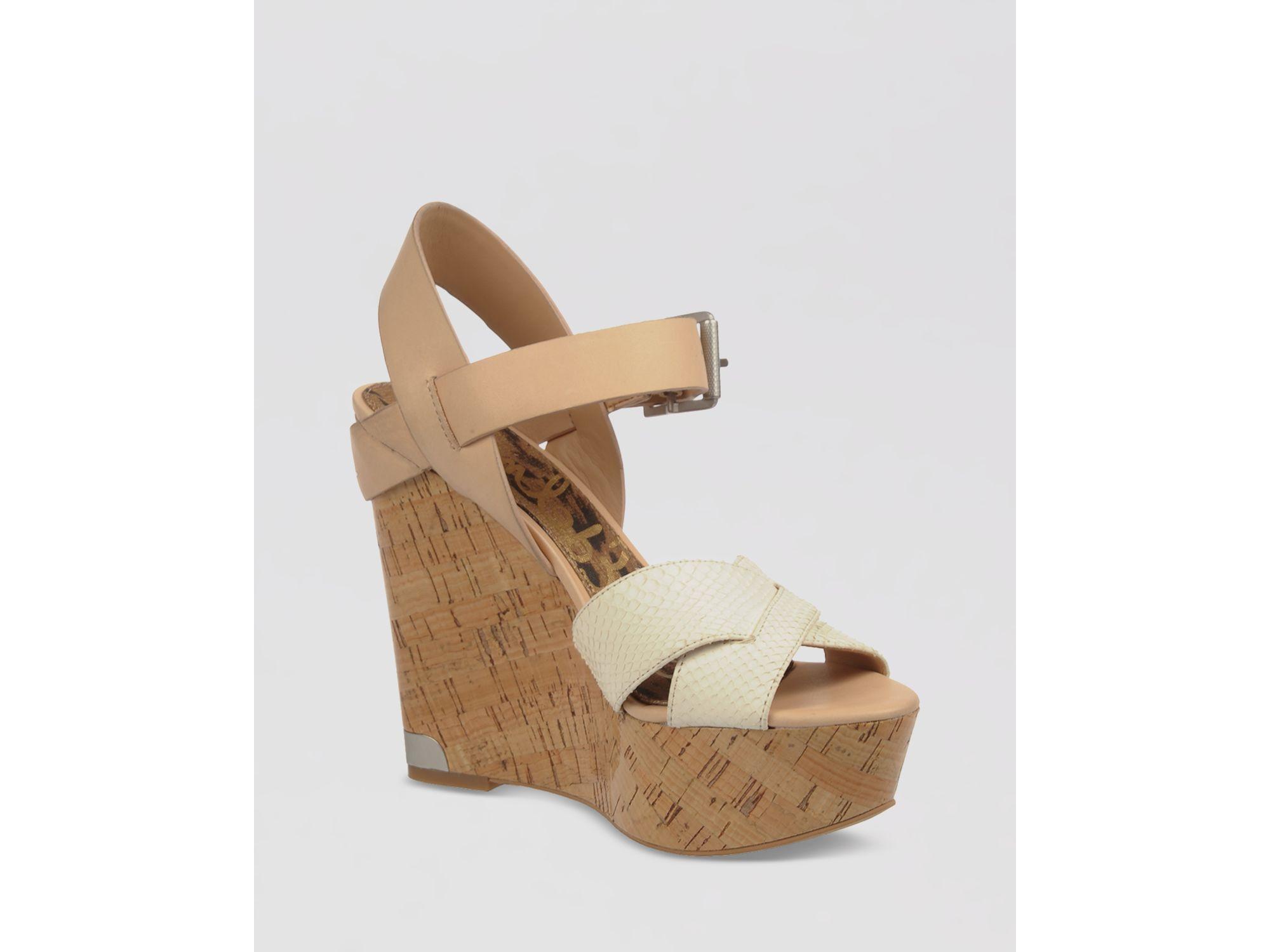 e80c2700792f48 Lyst - Sam Edelman Platform Wedge Sandals Sasha in Natural