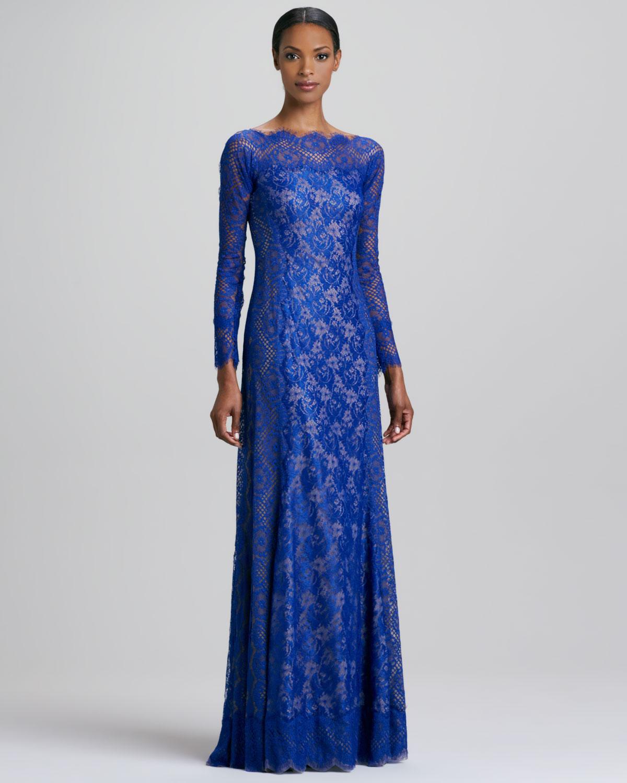 Lyst - Tadashi Shoji Long Sleeve Lace Gown in Blue