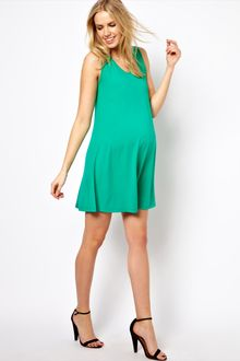 Emerald Green Dress on Maternity Swing Dress With Crochet Neck Detail In Green  Mint    Lyst