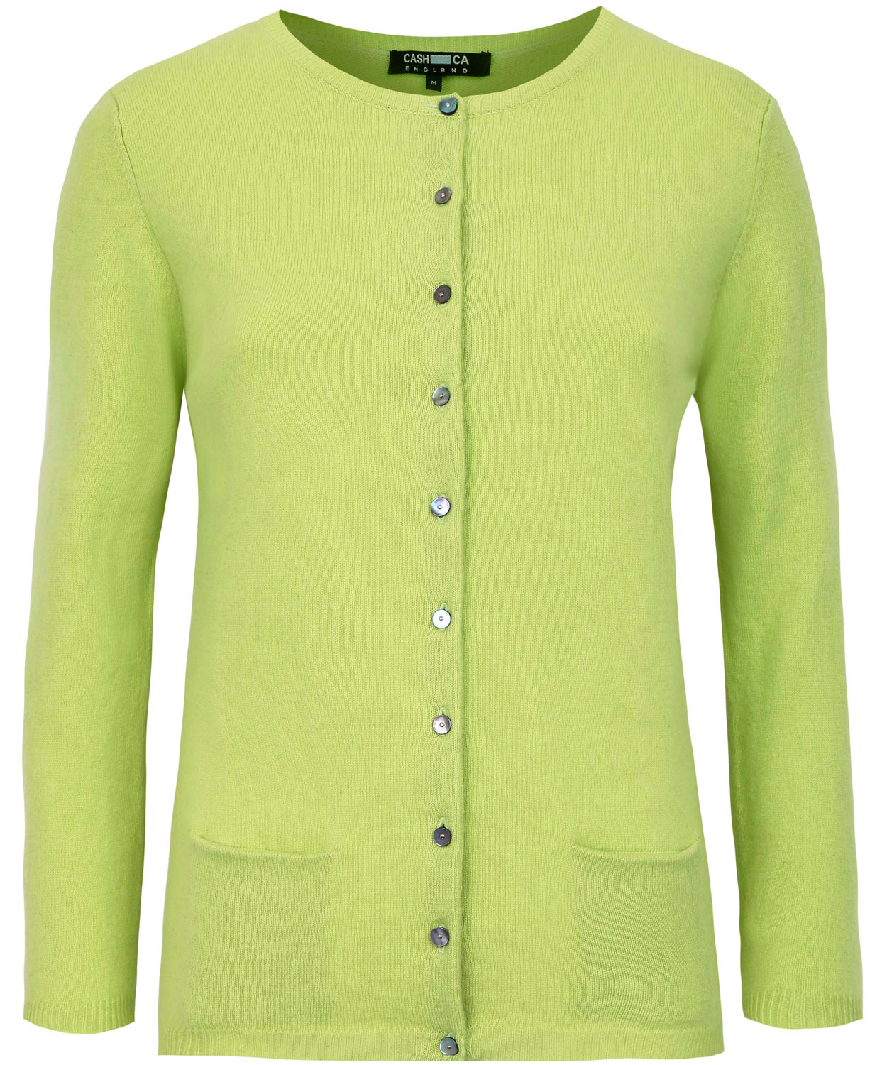 Cash ca Lime Green Cashmere Crew Neck Cardigan in Green | Lyst