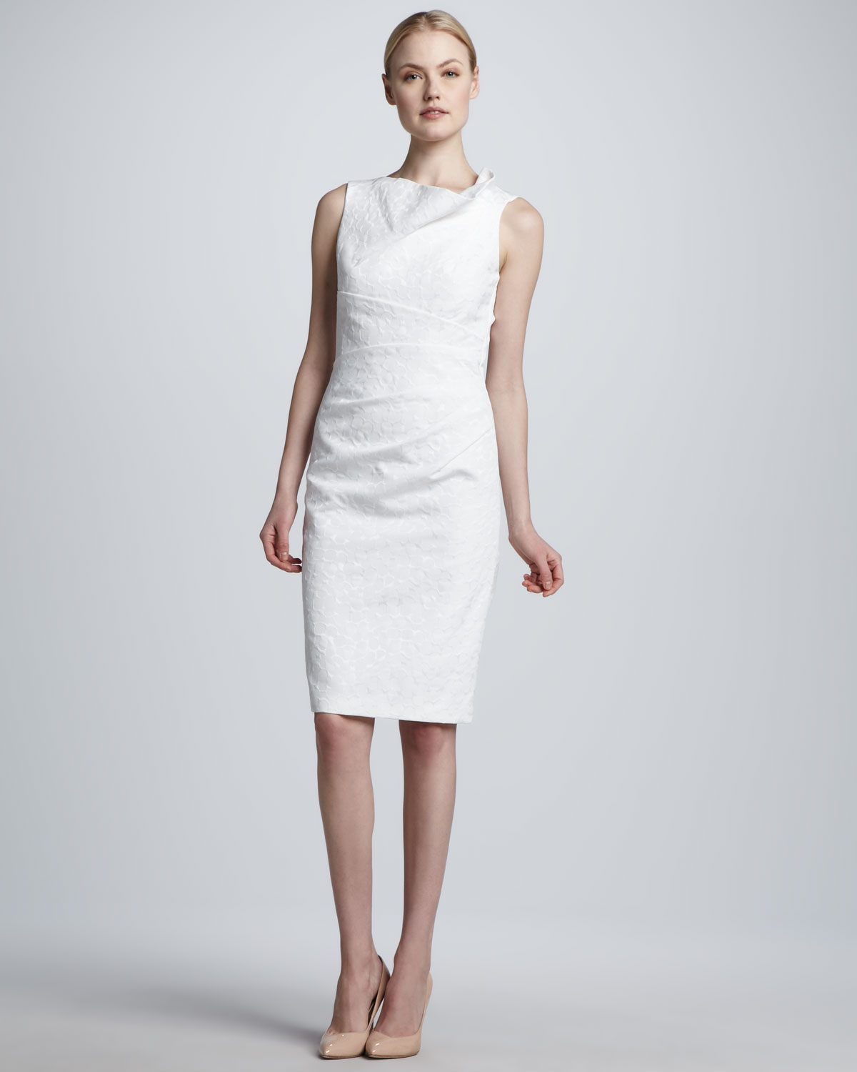 David meister Sleeveless Asymmetric-Neck Sheath Dress in White | Lyst