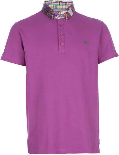 etro patterned collar polo shirt in purple for men lyst