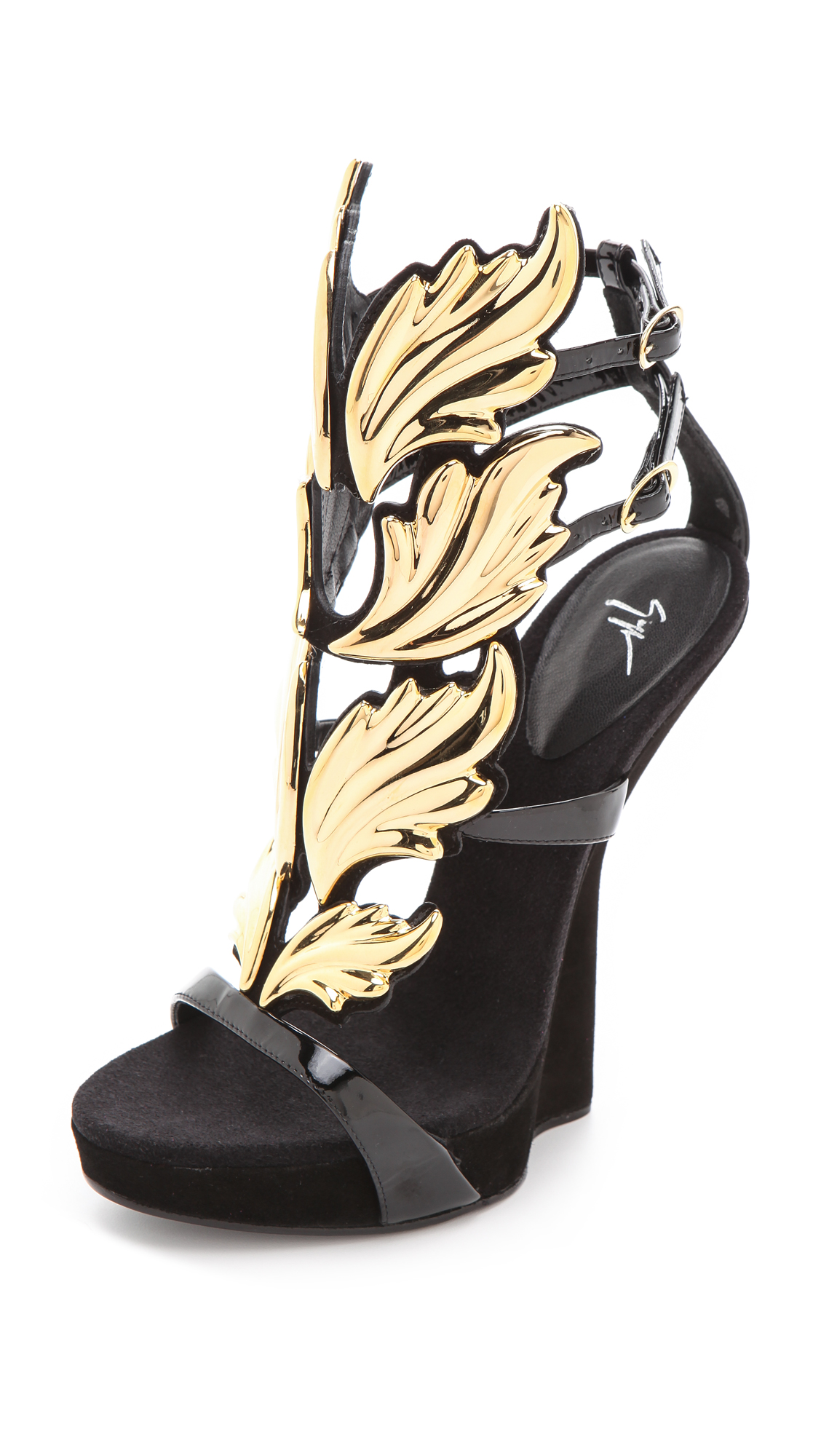 Flat Black Shoes With Gold Heels