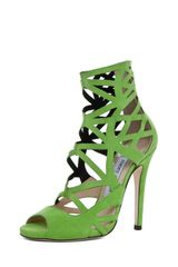 Jimmy Choo Viva Cut Out Bootie in Lime - Lyst